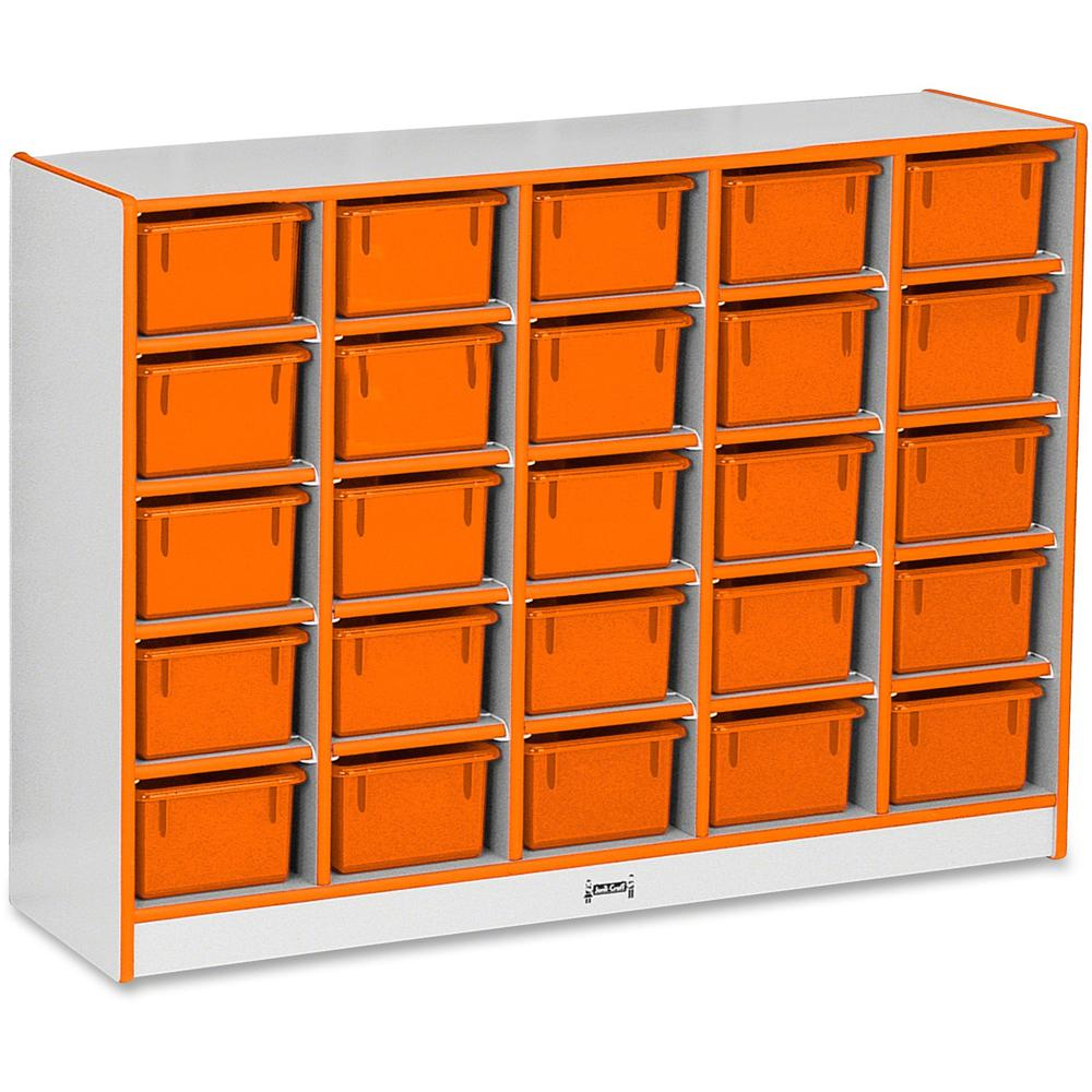 "Rainbow Accents Rainbow Accents Cubbie-trays Storage Unit - 25 Compartment(s) - 35.5"" Height x 48"" Width x 15"" Depth - Orange - Rubber - 1Each. Picture 1"
