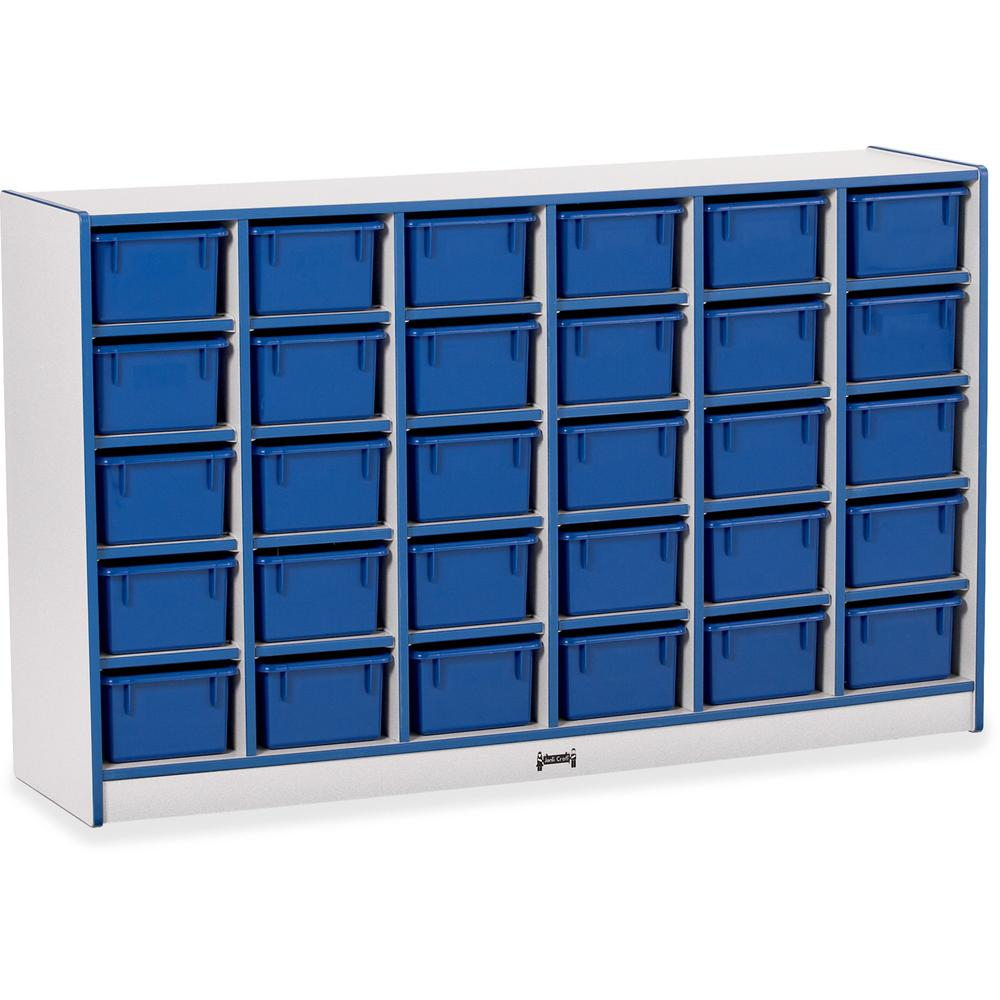 "Jonti-Craft Rainbow Accents Cubbie-trays Storage Unit - 30 Compartment(s) - 35.5"" Height x 57.5"" Width x 15"" Depth - Blue - Rubber - 1Each. Picture 1"