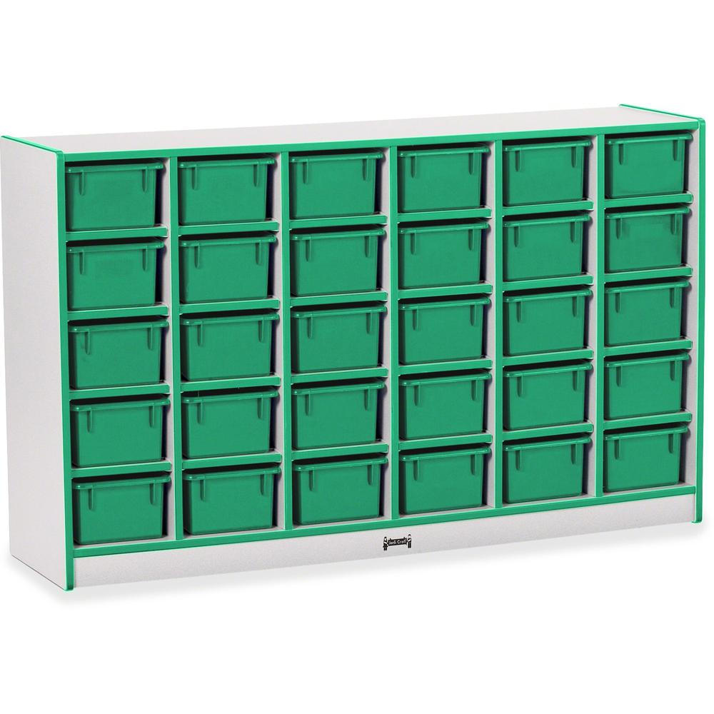 """Rainbow Accents Rainbow Accents Cubbie-trays Storage Unit - 30 Compartment(s) - 35.5"""" Height x 57.5"""" Width x 15"""" Depth - Green - Rubber - 1Each. Picture 1"""