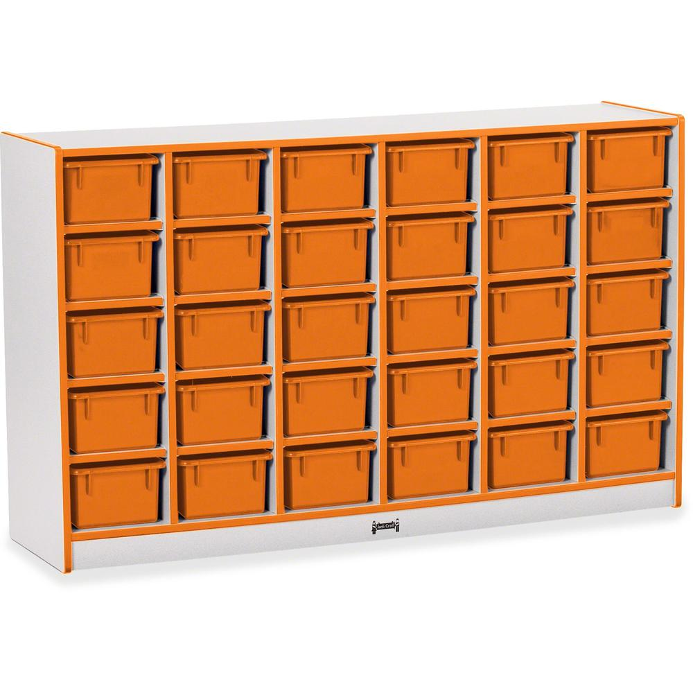 "Rainbow Accents Rainbow Accents Cubbie-trays Storage Unit - 30 Compartment(s) - 35.5"" Height x 57.5"" Width x 15"" Depth - Orange - Rubber - 1Each. Picture 1"