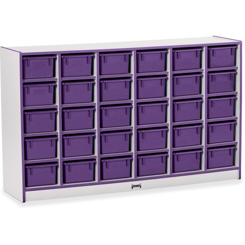 """Rainbow Accents Rainbow Accents Cubbie-trays Storage Unit - 30 Compartment(s) - 35.5"""" Height x 57.5"""" Width x 15"""" Depth - Purple - Rubber - 1Each. Picture 1"""
