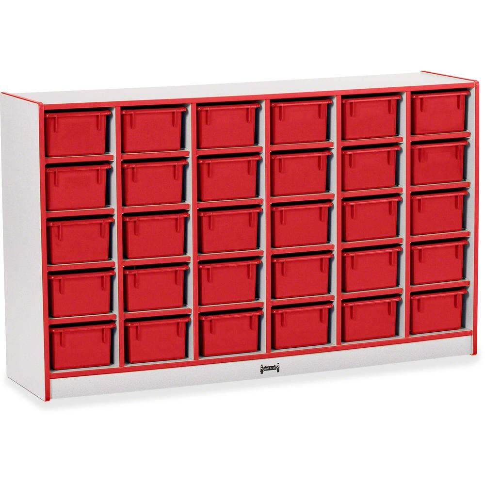 "Rainbow Accents Rainbow Accents Cubbie-trays Storage Unit - 30 Compartment(s) - 35.5"" Height x 57.5"" Width x 15"" Depth - Red - Rubber - 1Each. Picture 1"
