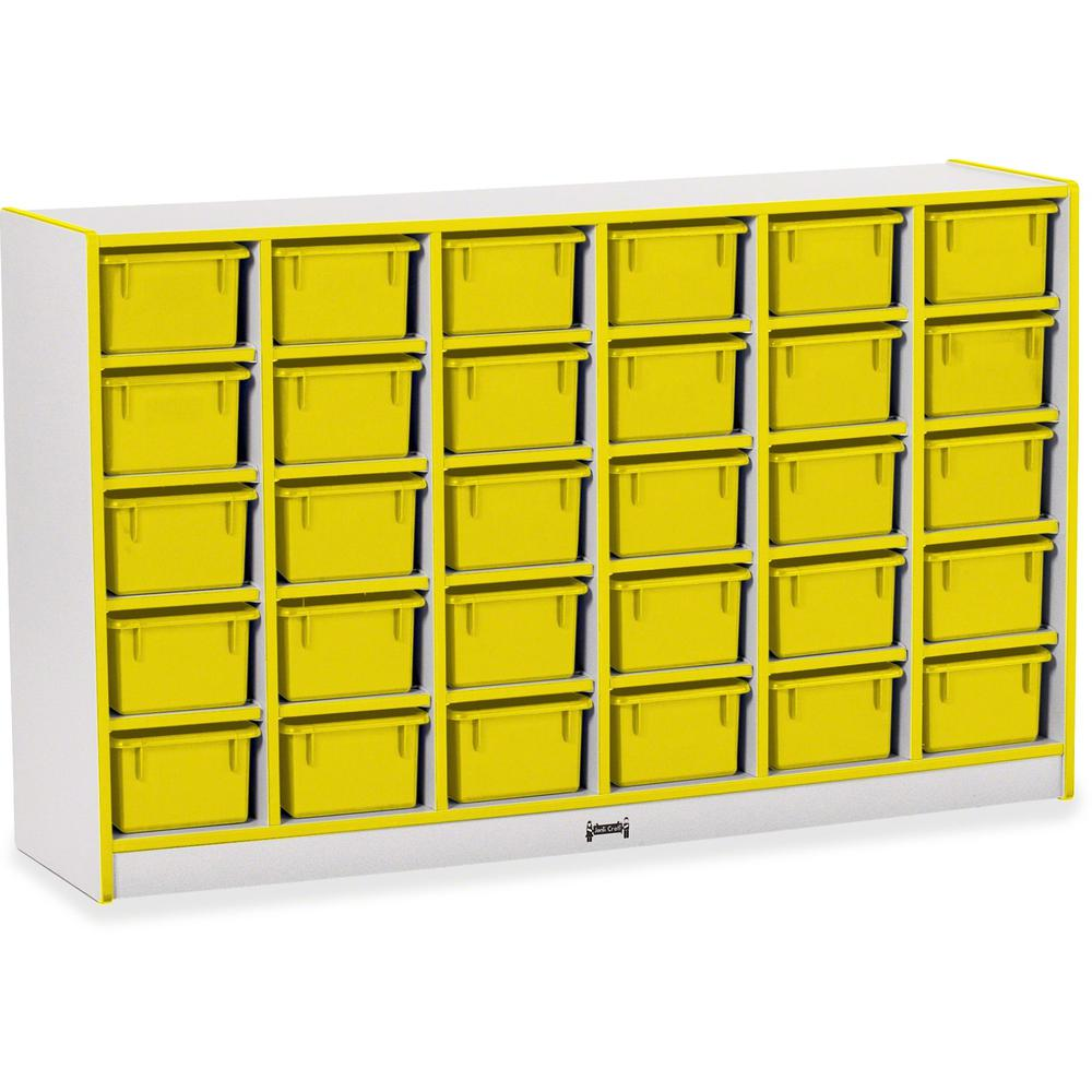"""Rainbow Accents Rainbow Accents Cubbie-trays Storage Unit - 30 Compartment(s) - 35.5"""" Height x 57.5"""" Width x 15"""" Depth - Yellow - Rubber - 1Each. Picture 1"""