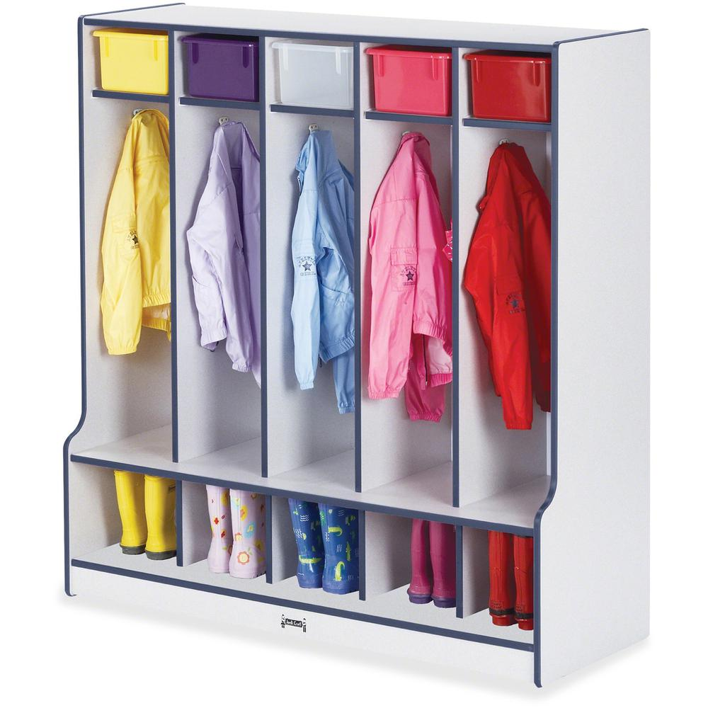 """Jonti-Craft Rainbow Accents Step 5 Section Locker - 5 Compartment(s) - 50.5"""" Height x 48"""" Width x 17.5"""" Depth - Navy, Navy Blue - 1Each. Picture 1"""