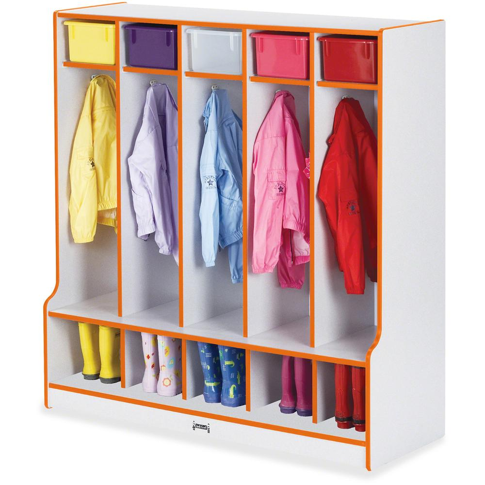 "Rainbow Accents Step 5 Section Locker - 5 Compartment(s) - 50.5"" Height x 48"" Width x 17.5"" Depth - Orange - 1Each. Picture 1"