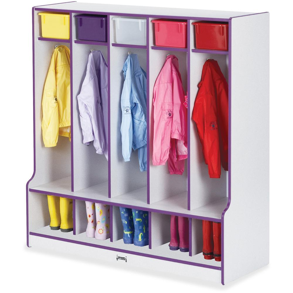 "Rainbow Accents Step 5 Section Locker - 5 Compartment(s) - 50.5"" Height x 48"" Width x 17.5"" Depth - Purple - 1Each. Picture 1"