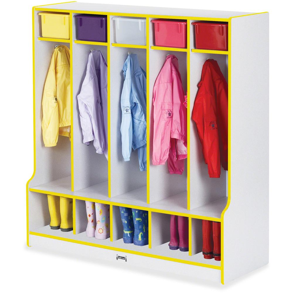 """Rainbow Accents Step 5 Section Locker - 5 Compartment(s) - 50.5"""" Height x 48"""" Width x 17.5"""" Depth - Yellow - 1Each. Picture 1"""