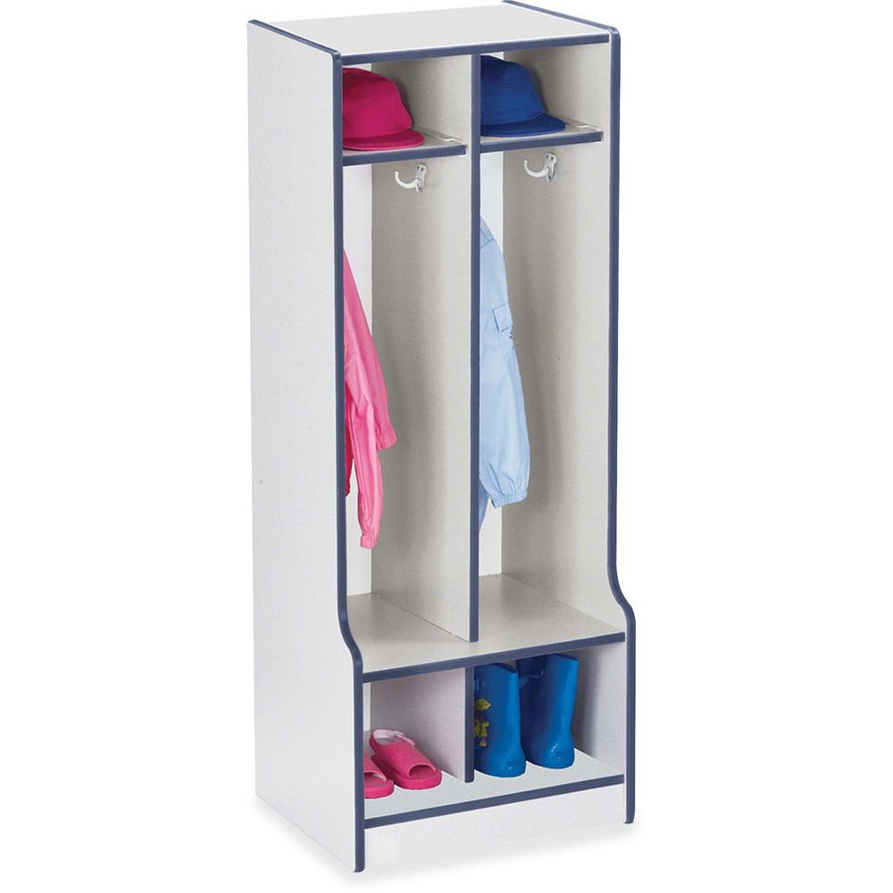 "Rainbow Accents Rainbow Double Coat Hooks Step Locker - 2 Compartment(s) - 50.5"" Height x 20"" Width x 17.5"" Depth - Navy, Navy Blue - 1Each. Picture 1"