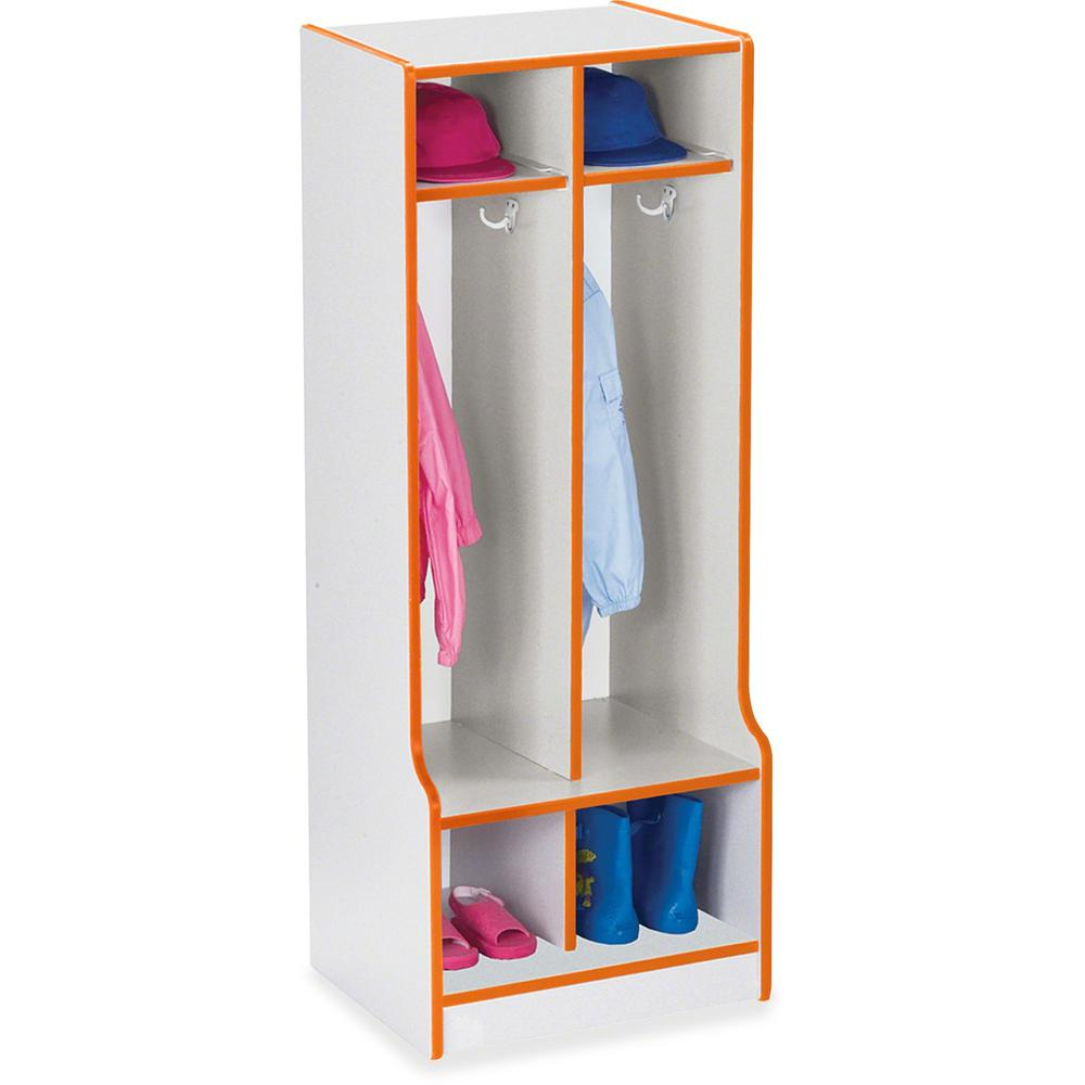 "Rainbow Accents Rainbow Double Coat Hooks Step Locker - 2 Compartment(s) - 50.5"" Height x 20"" Width x 17.5"" Depth - Orange - 1Each. Picture 1"