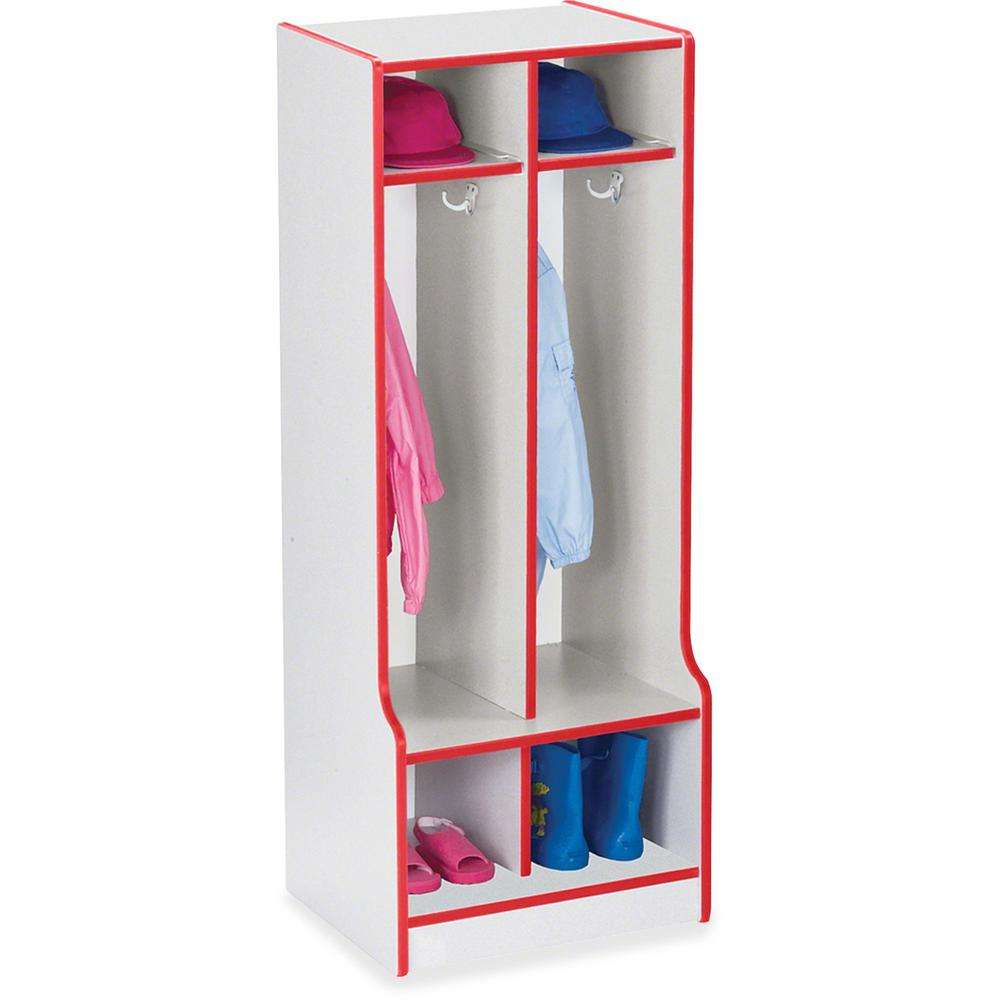 """Rainbow Accents Rainbow Double Coat Hooks Step Locker - 2 Compartment(s) - 50.5"""" Height x 20"""" Width x 17.5"""" Depth - Red - 1Each. Picture 1"""