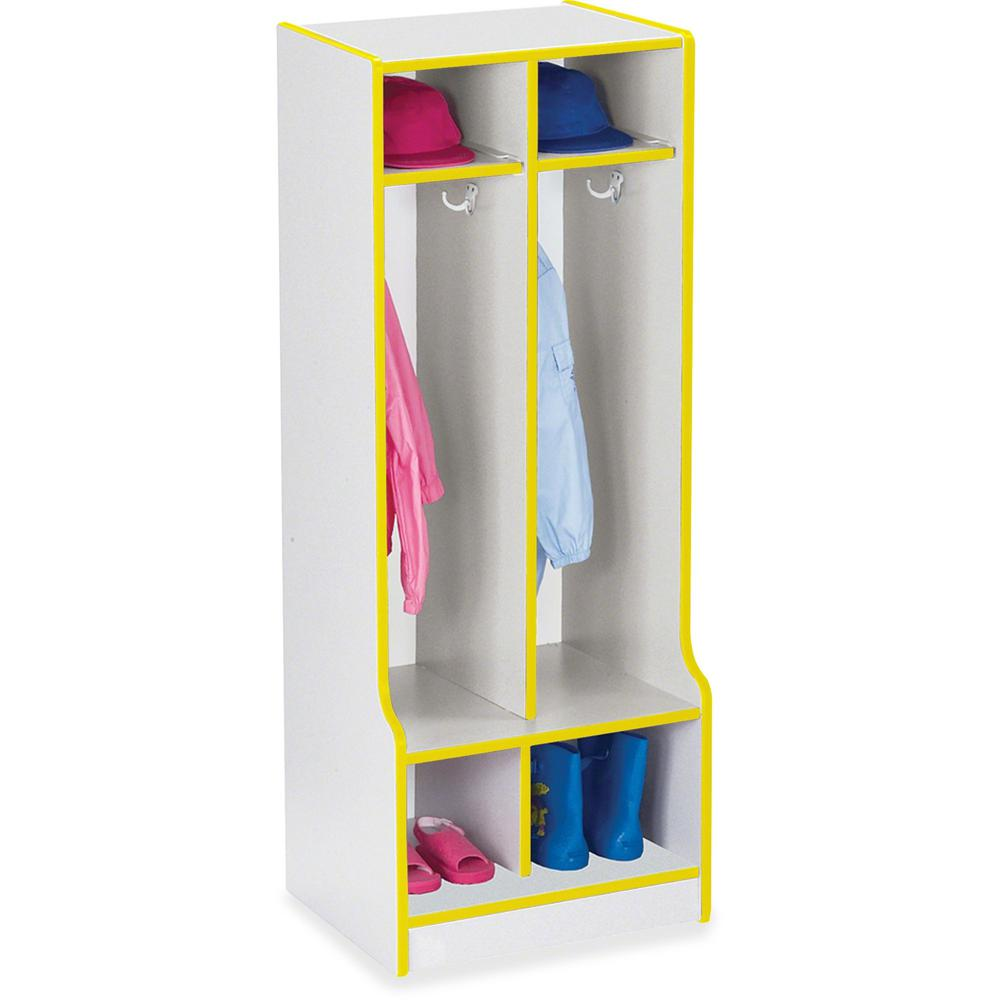 """Rainbow Accents Rainbow Double Coat Hooks Step Locker - 2 Compartment(s) - 50.5"""" Height x 20"""" Width x 17.5"""" Depth - Yellow - 1Each. Picture 1"""