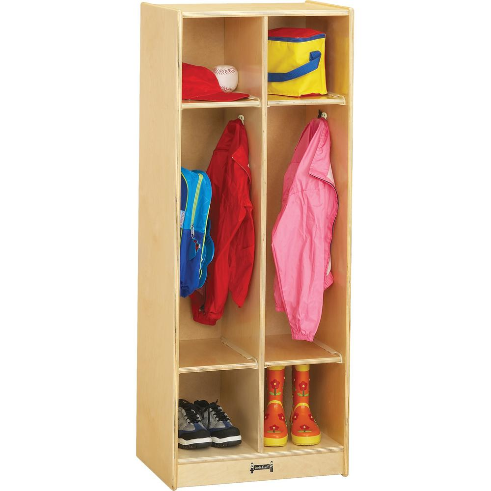 "Jonti-Craft 2 Section Coat Locker - 2 Compartment(s) - 50.5"" Height x 20"" Width x 15"" Depth - Baltic - Birch Plywood - 1Each. Picture 1"