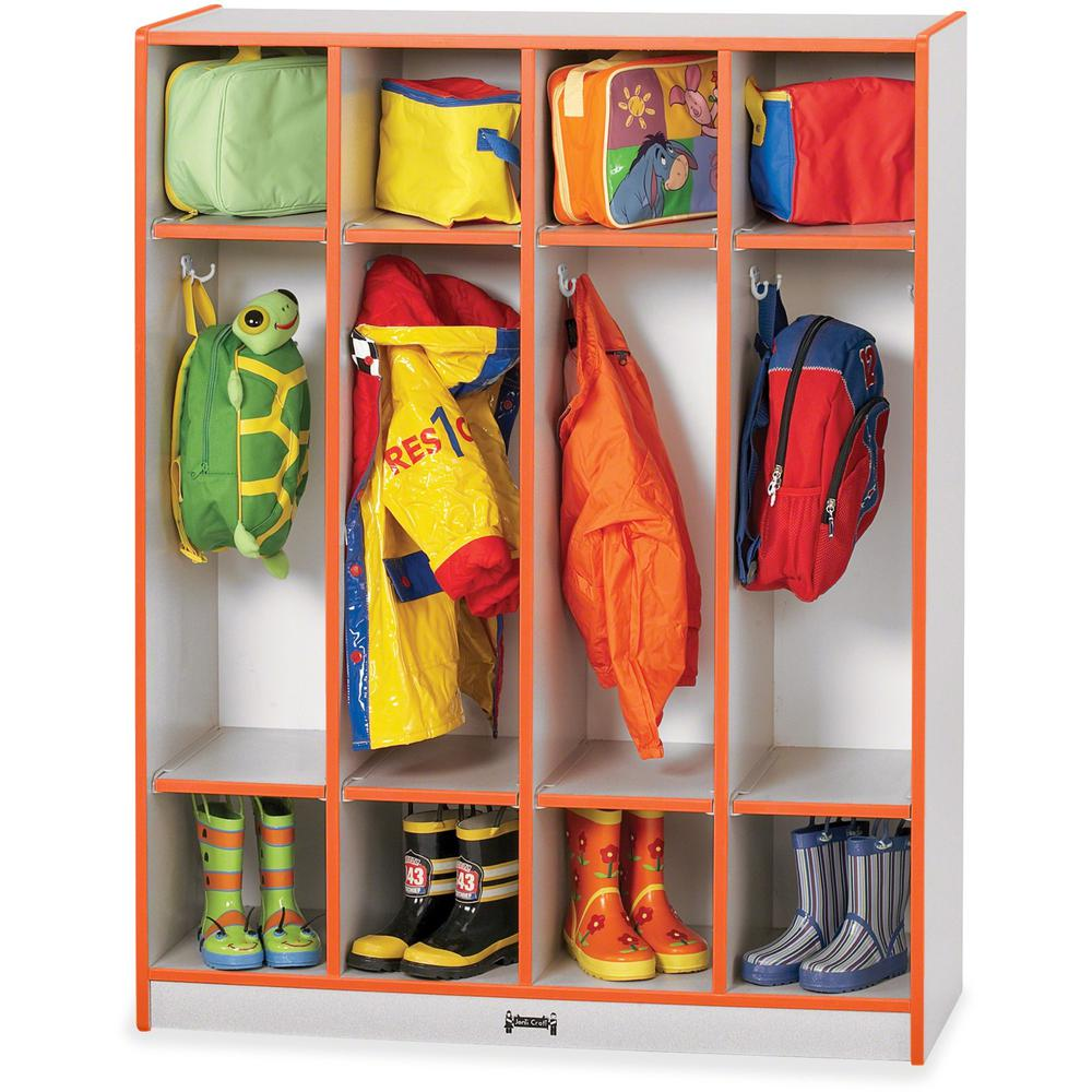 """Rainbow Accents 4 Section Coat Locker - 4 Compartment(s) - 50.5"""" Height x 39"""" Width x 15"""" Depth - Orange - 1Each. Picture 1"""