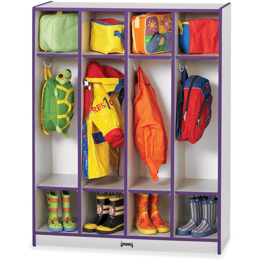 """Rainbow Accents 4 Section Coat Locker - 4 Compartment(s) - 50.5"""" Height x 39"""" Width x 15"""" Depth - Purple - 1Each. Picture 1"""