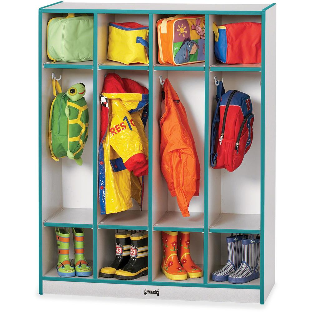 """Rainbow Accents 4 Section Coat Locker - 4 Compartment(s) - 50.5"""" Height x 39"""" Width x 15"""" Depth - Teal - 1Each. Picture 1"""