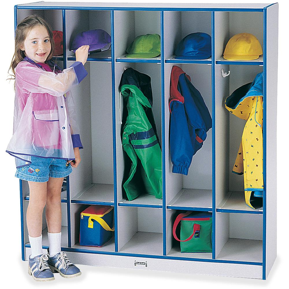 """Jonti-Craft Rainbow Accents 5-section Coat Locker - 5 Compartment(s) - 50.5"""" Height x 48"""" Width x 15"""" Depth - Blue - 1Each. Picture 1"""