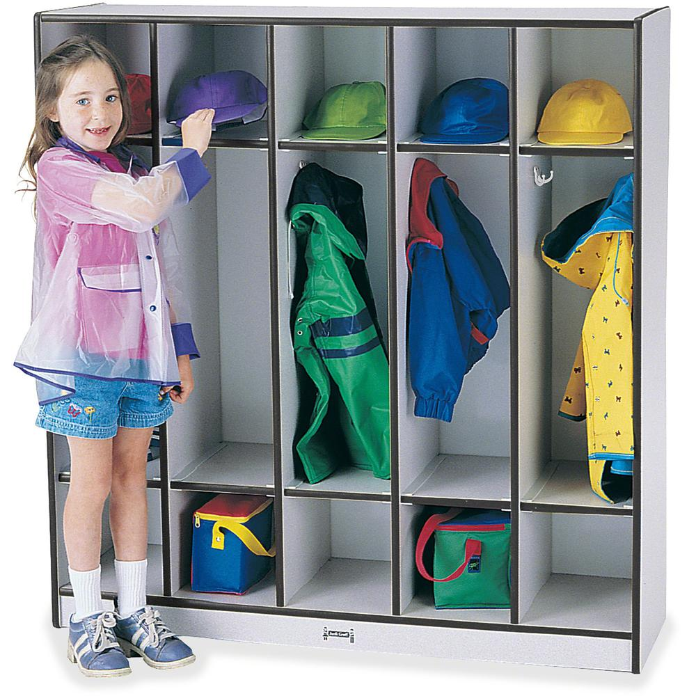 "Rainbow Accents 5-section Coat Locker - 5 Compartment(s) - 50.5"" Height x 48"" Width x 15"" Depth - Black - 1Each. Picture 1"