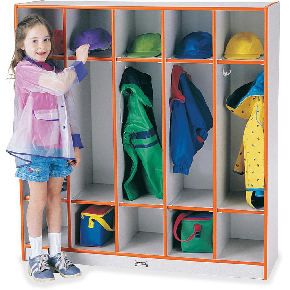 """Rainbow Accents 5-section Coat Locker - 5 Compartment(s) - 50.5"""" Height x 48"""" Width x 15"""" Depth - Orange - 1Each. Picture 1"""