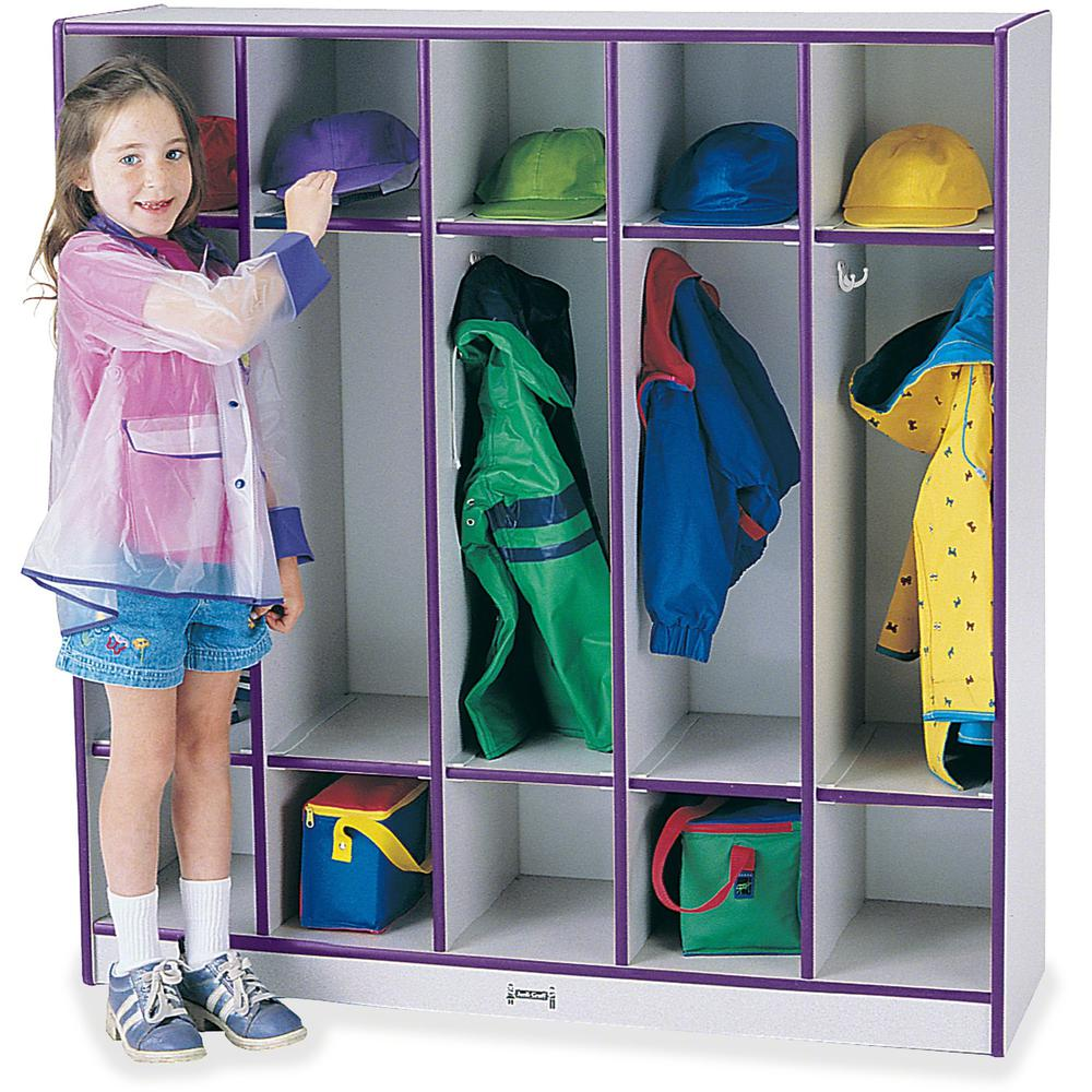 "Rainbow Accents 5-section Coat Locker - 5 Compartment(s) - 50.5"" Height x 48"" Width x 15"" Depth - Purple - 1Each. Picture 1"