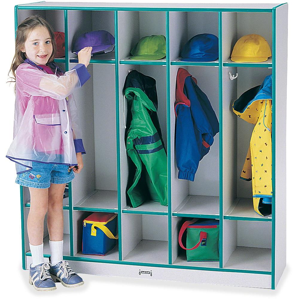 "Rainbow Accents 5-section Coat Locker - 5 Compartment(s) - 50.5"" Height x 48"" Width x 15"" Depth - Teal - 1Each. Picture 1"