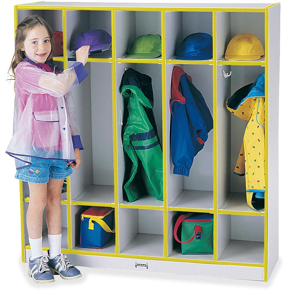 """Rainbow Accents 5-section Coat Locker - 5 Compartment(s) - 50.5"""" Height x 48"""" Width x 15"""" Depth - Yellow - 1Each. Picture 1"""