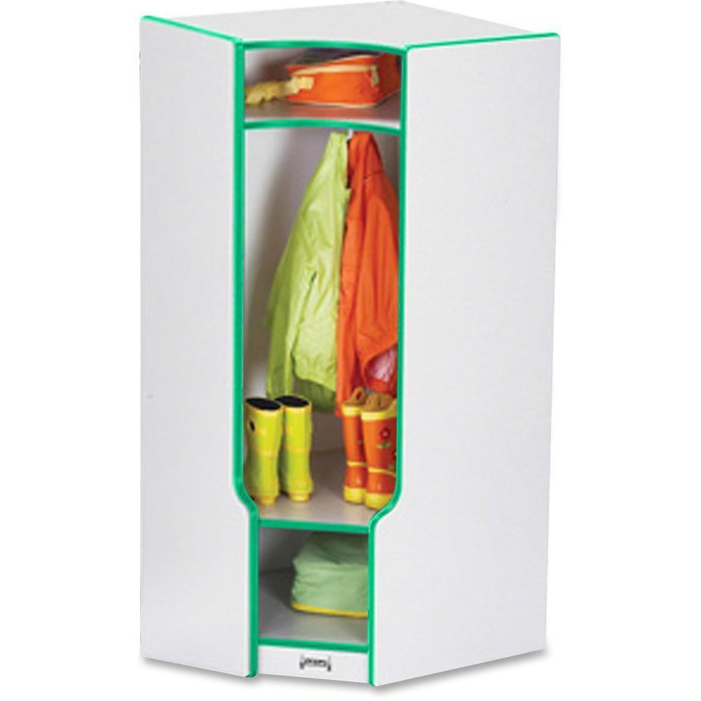 "Jonti-Craft Rainbow Accents 3-double Hooks Step Corner Coat Locker - 50.5"" Height x 24"" Width x 17.5"" Depth - Green - 1Each. Picture 1"