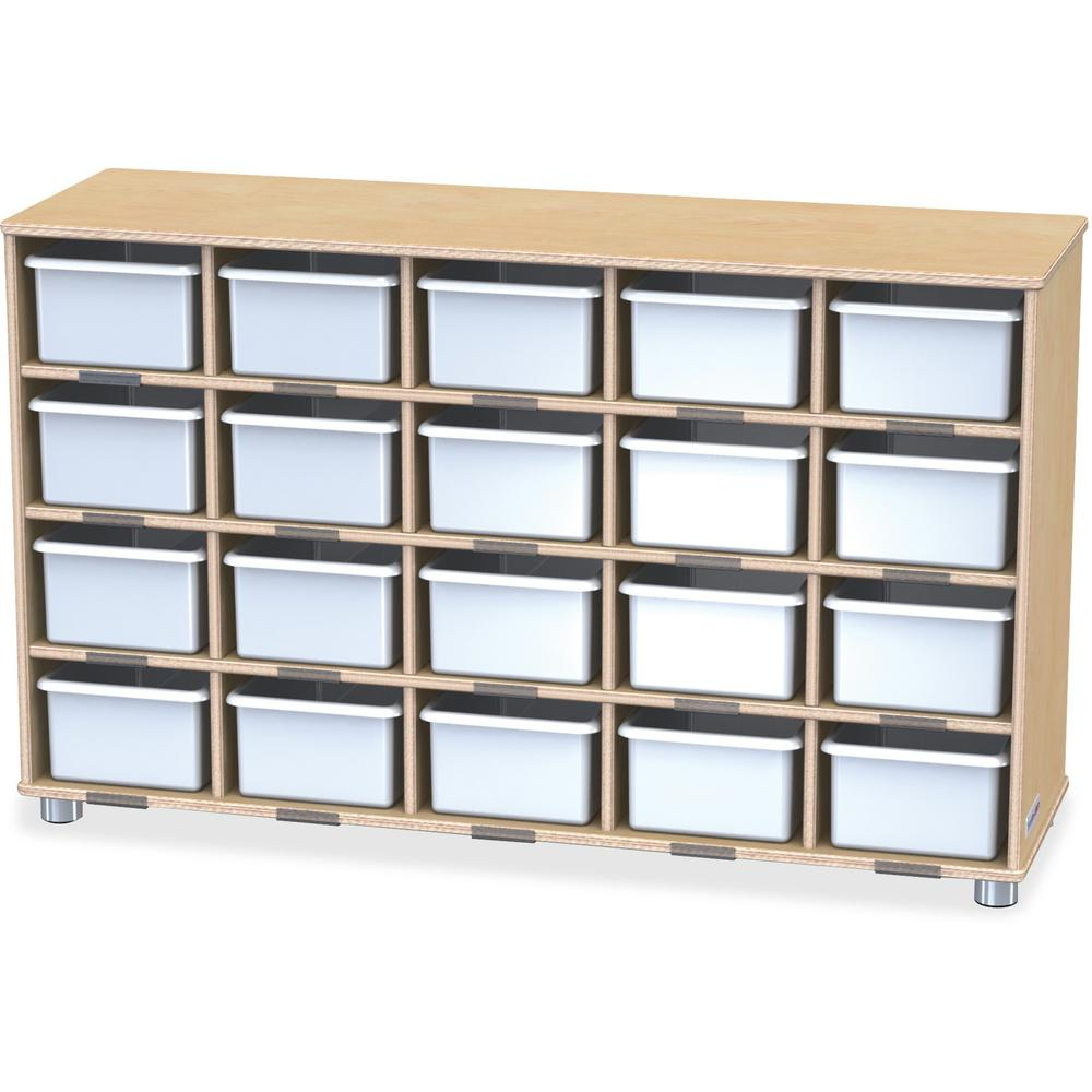 "Jonti-Craft TrueModern 20-Cubbie Bins Storage - 20 Compartment(s) - 29.5"" Height x 48.5"" Width x 15"" Depth - Baltic, White Bin - Anodized Aluminum, Baltic Birch - 1Each. Picture 1"