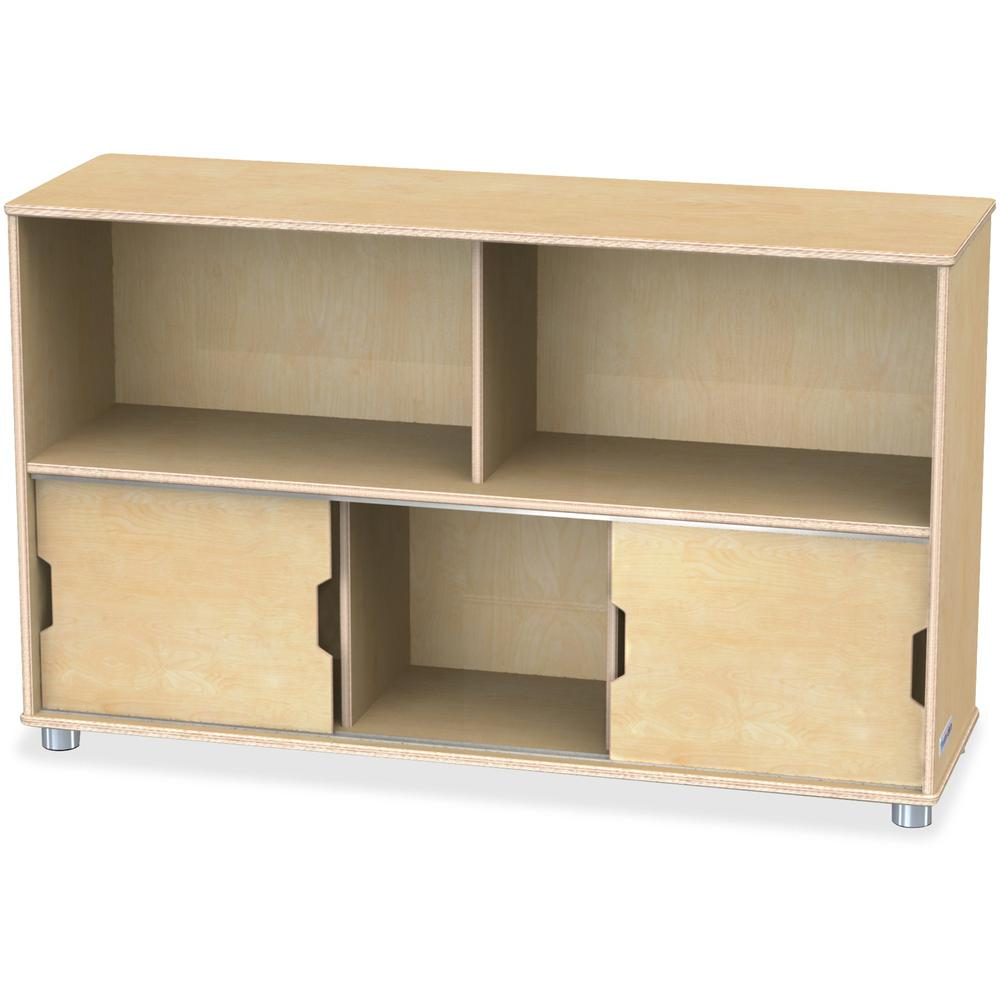 "TrueModern Storage Shelves - 29.5"" Height x 48.5"" Width x 15"" Depth - Baltic - Anodized Aluminum, Baltic Birch - 1Each. Picture 1"