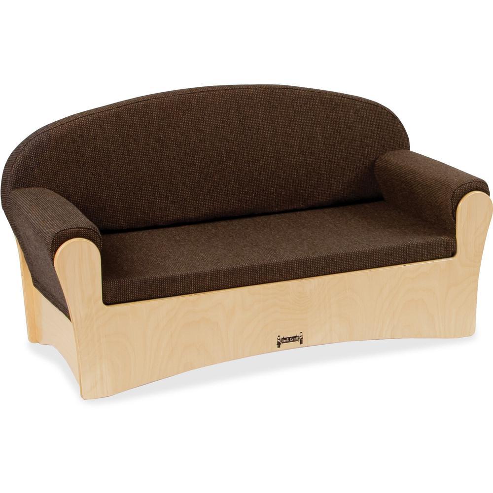 "Jonti-Craft Komfy Children's Sofa - 42.5"" x 19.5"" x 23"" - Fabric Espresso SeatEspresso Back. Picture 1"