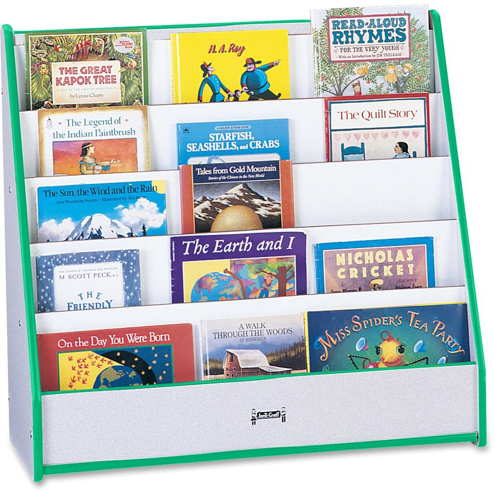 """Rainbow Accents Laminate 5-shelf Pick-a-Book Stand - 5 Compartment(s) - 1"""" - 27.5"""" Height x 30"""" Width x 13.5"""" Depth - Green - 1Each. Picture 1"""