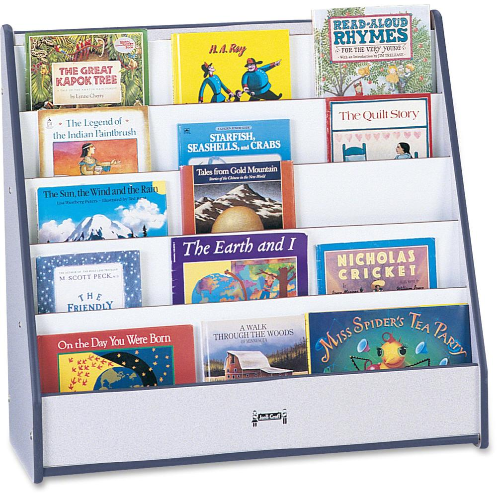 "Jonti-Craft Rainbow Accents Laminate 5-shelf Pick-a-Book Stand - 5 Compartment(s) - 1"" - 27.5"" Height x 30"" Width x 13.5"" Depth - Durable, Laminated, Rounded Corner - Navy, Navy Blue - 1Each. Picture 1"