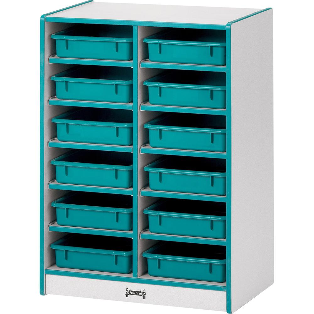 """Rainbow Accents Rainbow Paper Cubbie Mobile Storage - 12 Compartment(s) - 35.5"""" Height x 24.5"""" Width x 15"""" Depth - Green - Rubber - 1Each. Picture 1"""