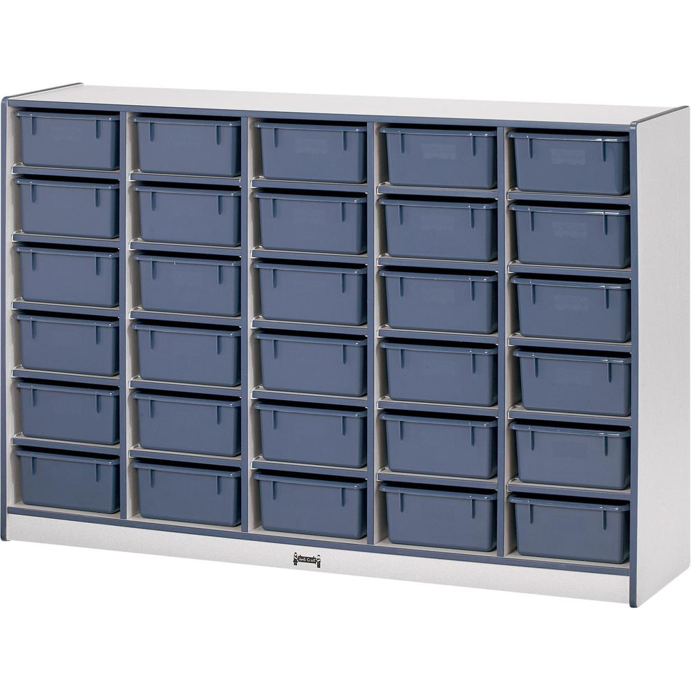 """Rainbow Accents Cubbie Mobile Storage - 30 Compartment(s) - 42"""" Height x 60"""" Width x 15"""" Depth - Navy, Navy Blue - Hard Rubber - 1Each. Picture 1"""