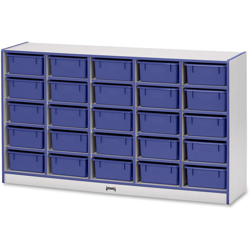 "Rainbow Accents Mobile Tub Bin Storage - 25 Compartment(s) - 35.5"" Height x 60"" Width x 15"" Depth - Blue - Hard Rubber - 1Each"
