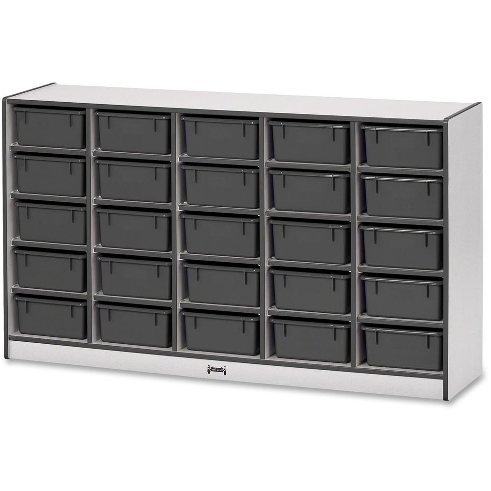 """Rainbow Accents Mobile Tub Bin Storage - 25 Compartment(s) - 35.5"""" Height x 60"""" Width x 15"""" Depth - Black - Hard Rubber - 1Each. Picture 1"""