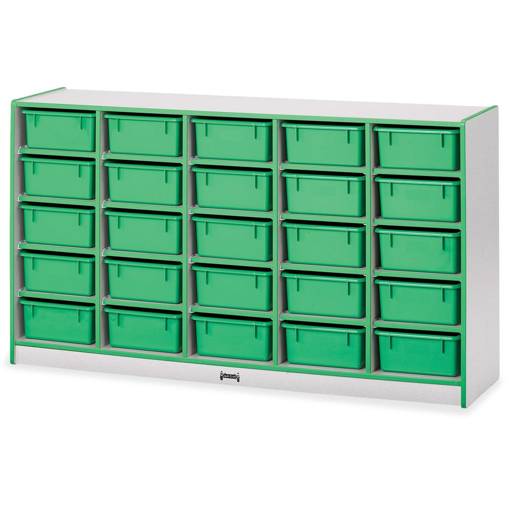 "Jonti-Craft Rainbow Accents Mobile Tub Bin Storage - 25 Compartment(s) - 35.5"" Height x 60"" Width x 15"" Depth - Green - Hard Rubber - 1Each. Picture 1"