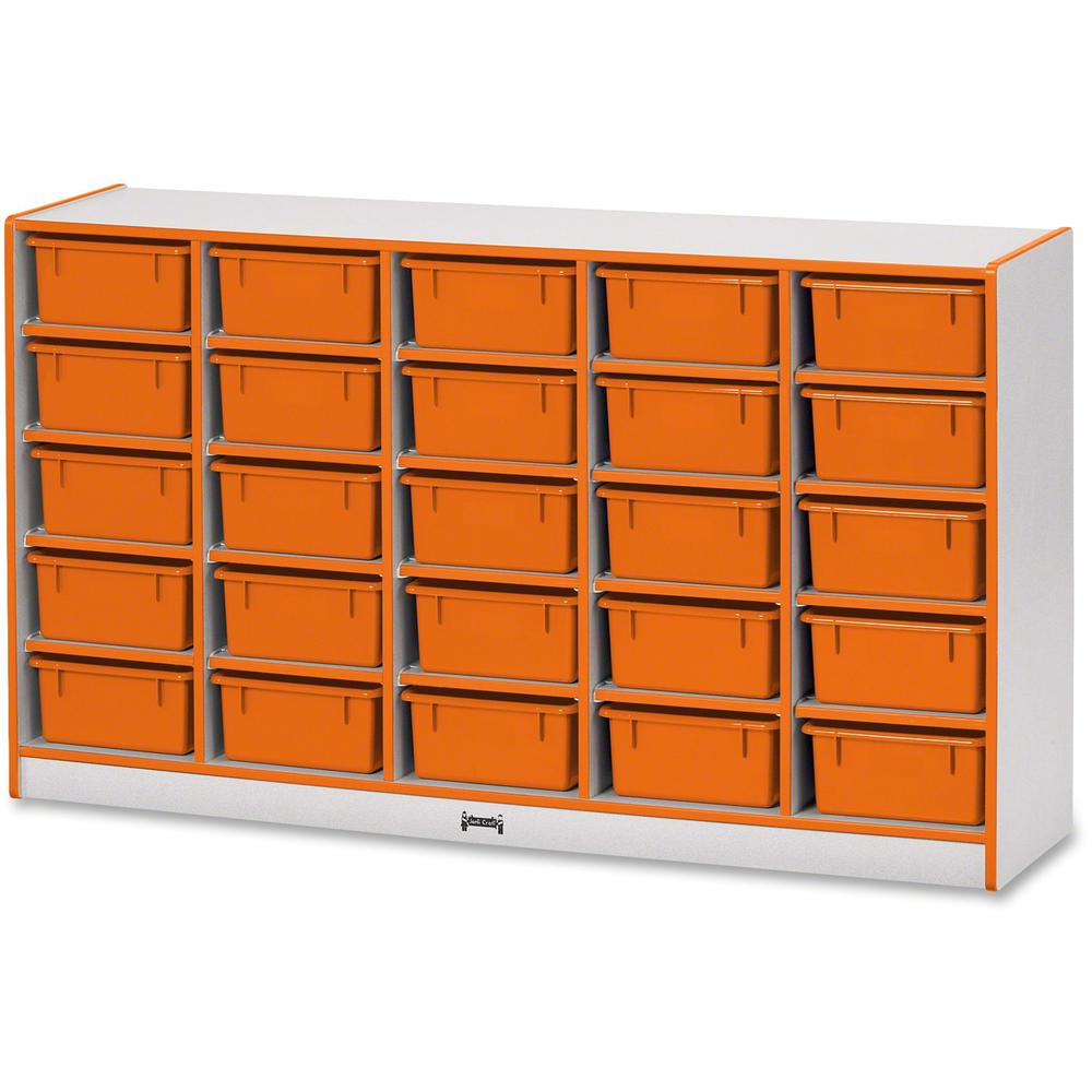 """Rainbow Accents Mobile Tub Bin Storage - 25 Compartment(s) - 35.5"""" Height x 60"""" Width x 15"""" Depth - Orange - Hard Rubber - 1Each. Picture 1"""