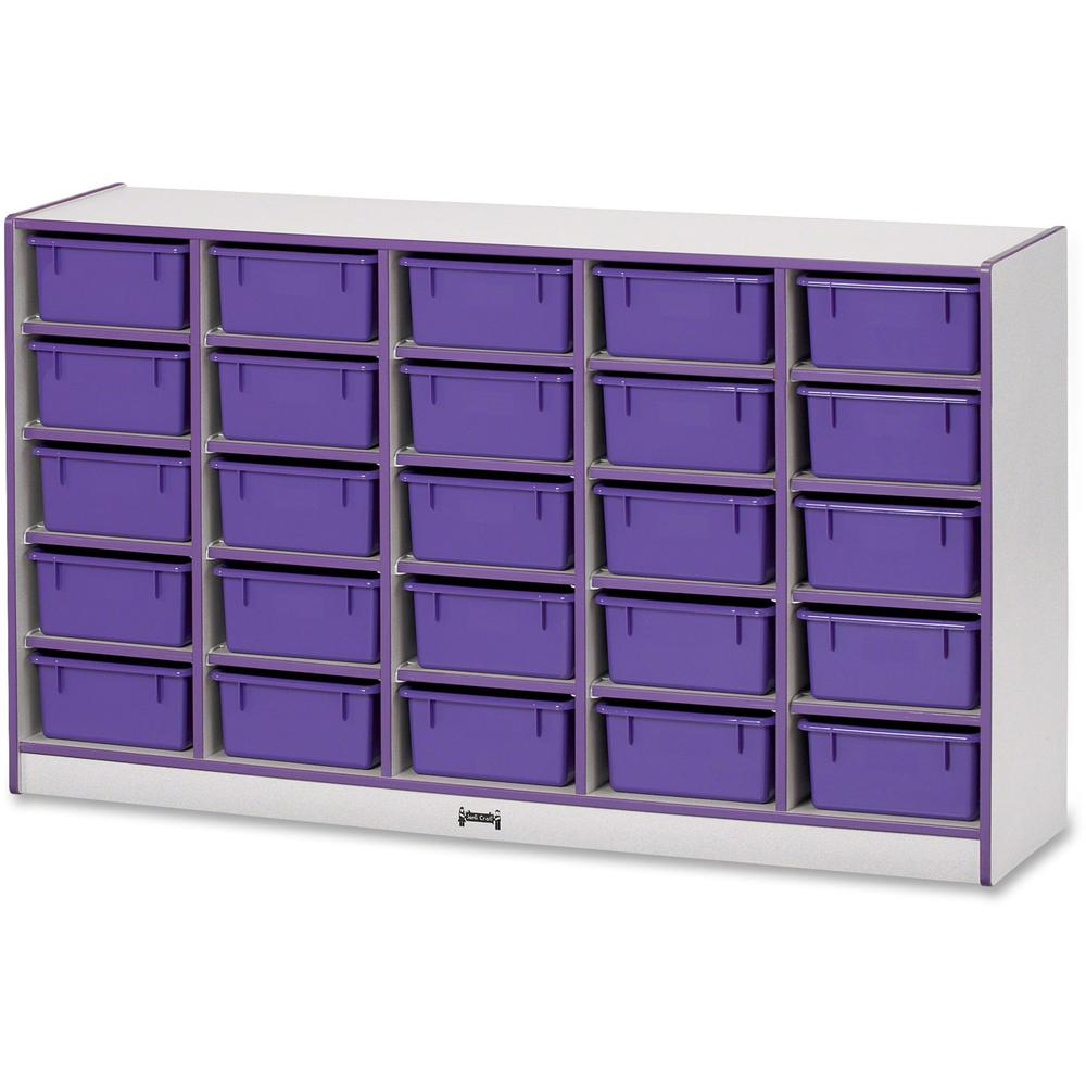 """Rainbow Accents Mobile Tub Bin Storage - 25 Compartment(s) - 35.5"""" Height x 60"""" Width x 15"""" Depth - Purple - Hard Rubber - 1Each. Picture 1"""