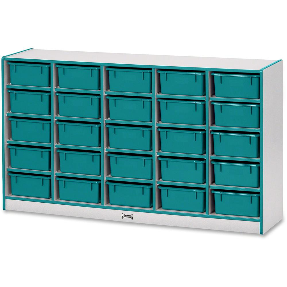 """Rainbow Accents Mobile Tub Bin Storage - 25 Compartment(s) - 35.5"""" Height x 60"""" Width x 15"""" Depth - Teal - Hard Rubber - 1Each. Picture 1"""