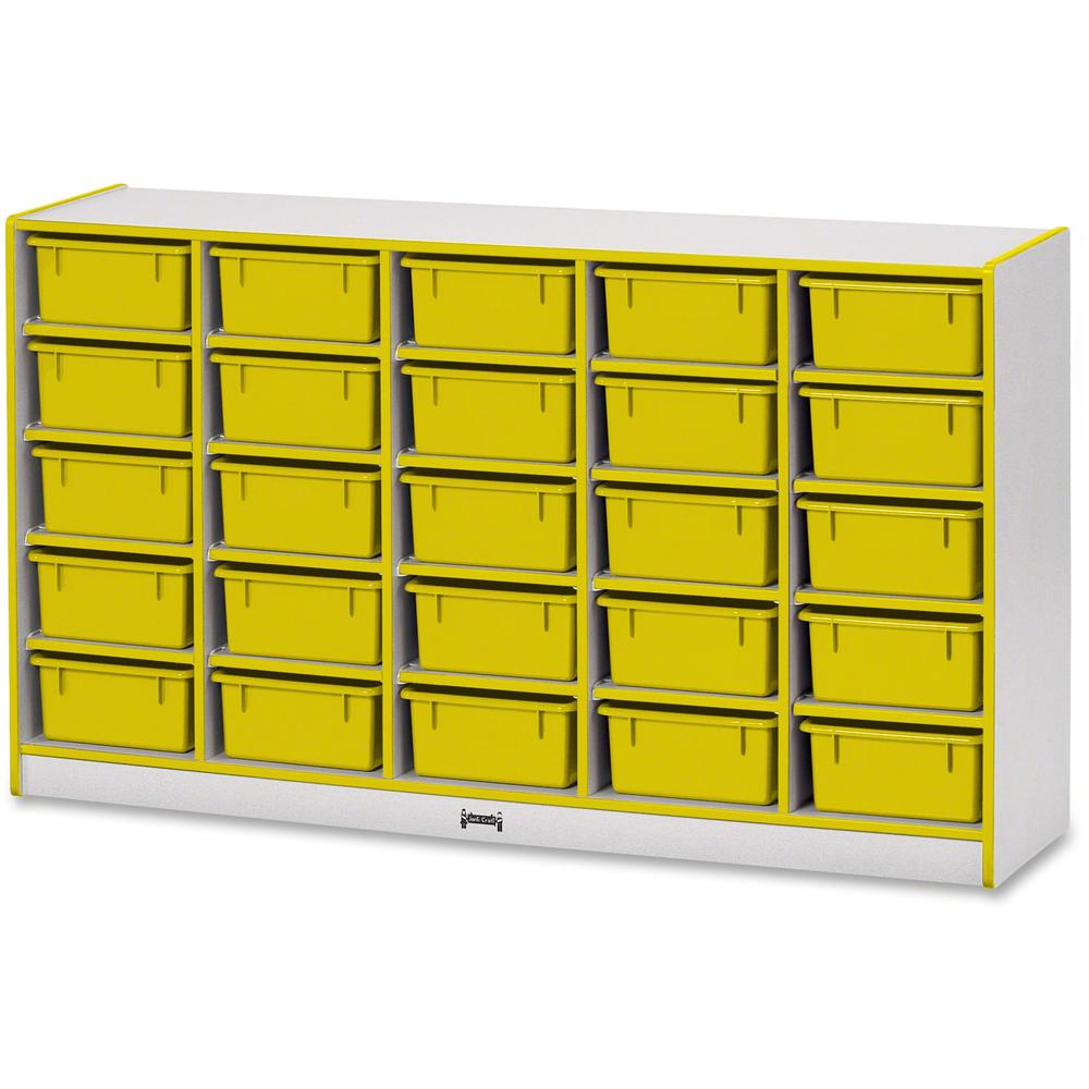 """Rainbow Accents Mobile Tub Bin Storage - 25 Compartment(s) - 35.5"""" Height x 60"""" Width x 15"""" Depth - Yellow - Hard Rubber - 1Each. Picture 1"""