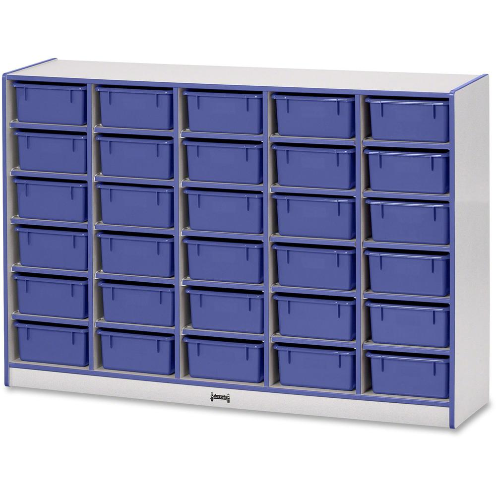 "Rainbow Accents Mobile Tub Bin Storage - 30 Compartment(s) - 42"" Height x 60"" Width x 15"" Depth - Blue - Hard Rubber - 1Each"