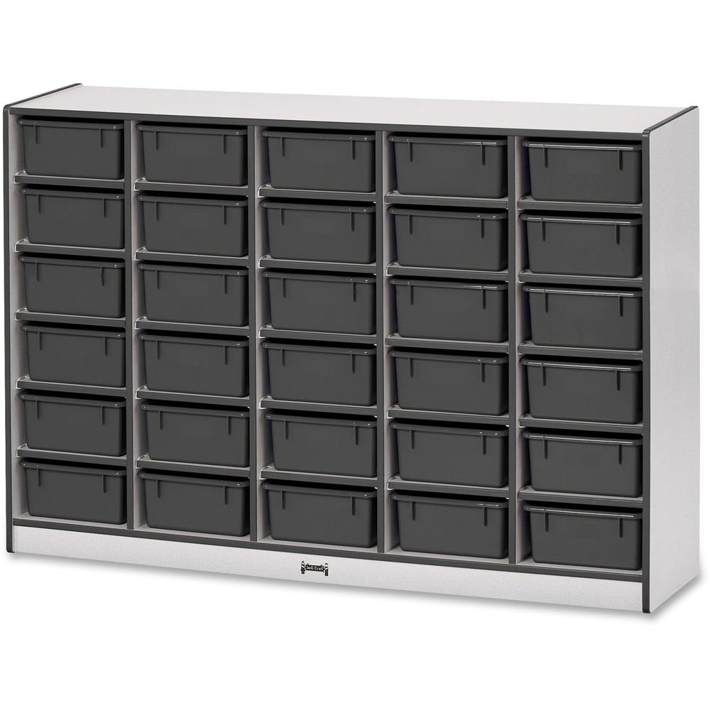"""Rainbow Accents Mobile Tub Bin Storage - 30 Compartment(s) - 42"""" Height x 60"""" Width x 15"""" Depth - Black - Hard Rubber - 1Each. Picture 1"""