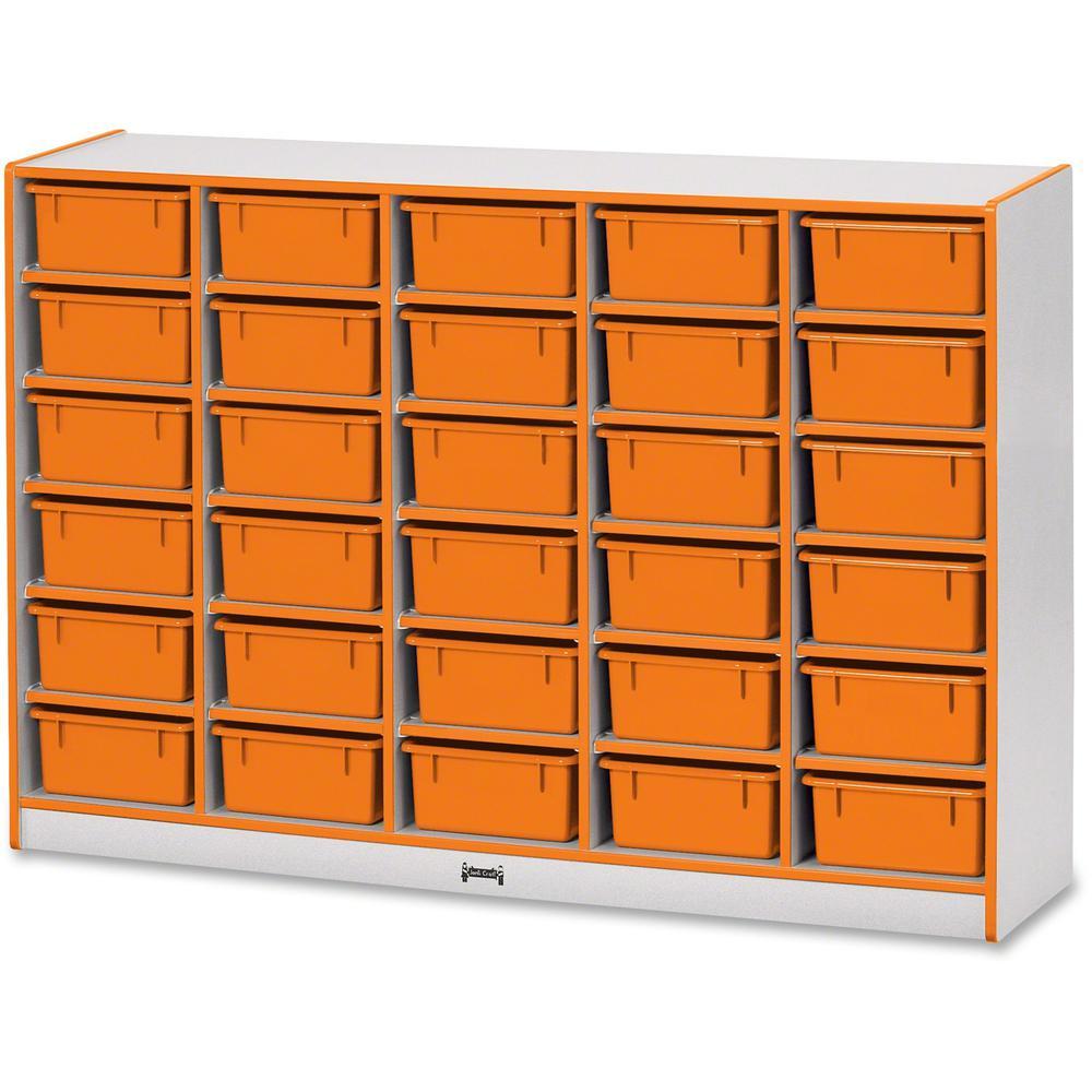 "Jonti-Craft Rainbow Accents Mobile Tub Bin Storage - 30 Compartment(s) - 42"" Height x 60"" Width x 15"" Depth - Orange - Hard Rubber - 1Each. Picture 1"