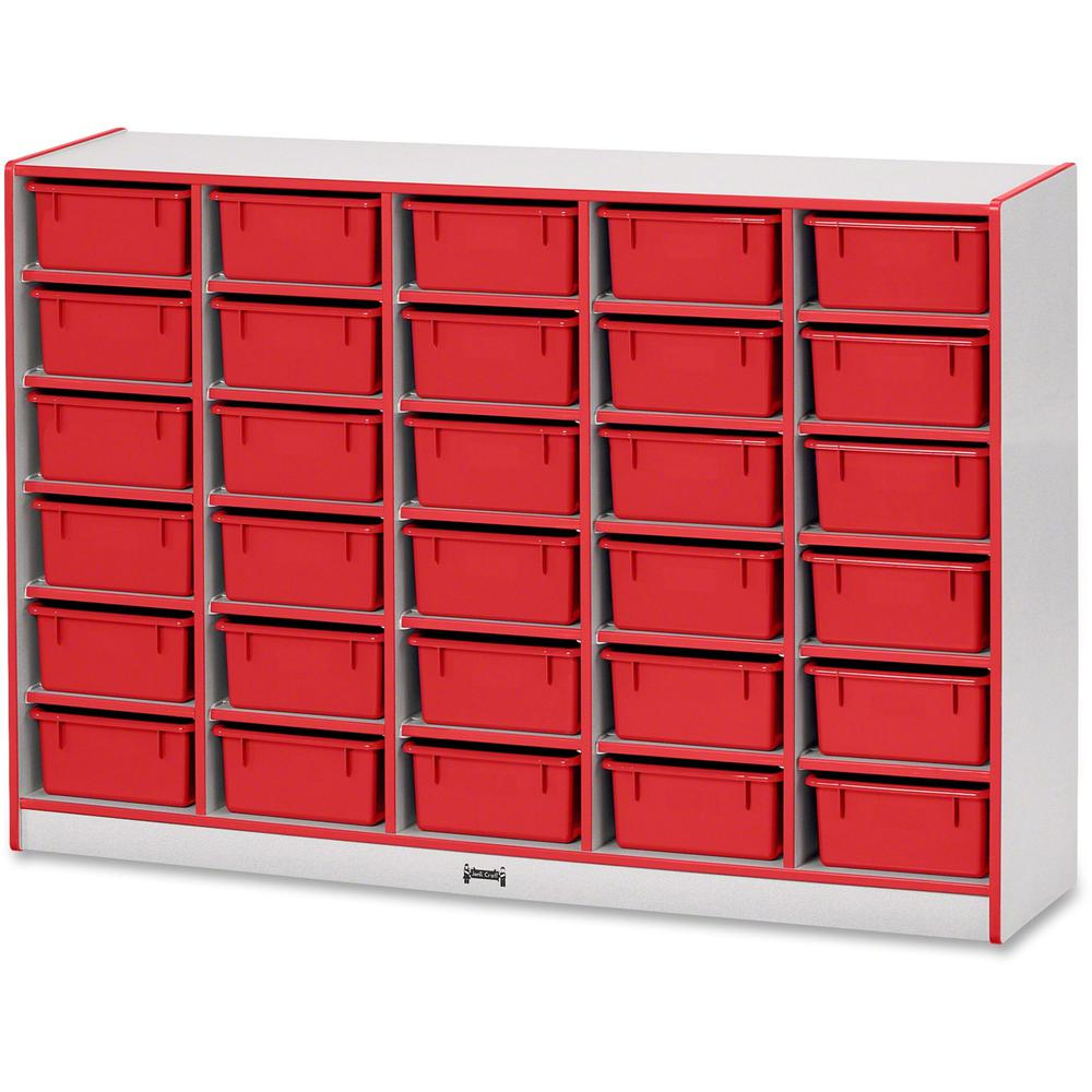 """Jonti-Craft Rainbow Accents Mobile Tub Bin Storage - 30 Compartment(s) - 42"""" Height x 60"""" Width x 15"""" Depth - Red - Hard Rubber - 1Each. Picture 1"""