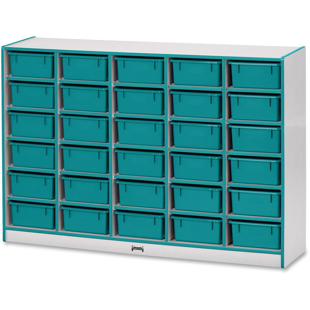 """Rainbow Accents Mobile Tub Bin Storage - 30 Compartment(s) - 42"""" Height x 60"""" Width x 15"""" Depth - Teal - Hard Rubber - 1Each. Picture 1"""