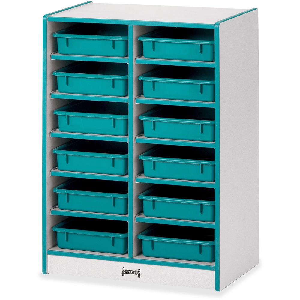 """Rainbow Accents Rainbow Mobile Paper-Tray Storage - 35.5"""" Height x 24.5"""" Width x 15"""" Depth - Teal - Rubber - 1Each. Picture 1"""