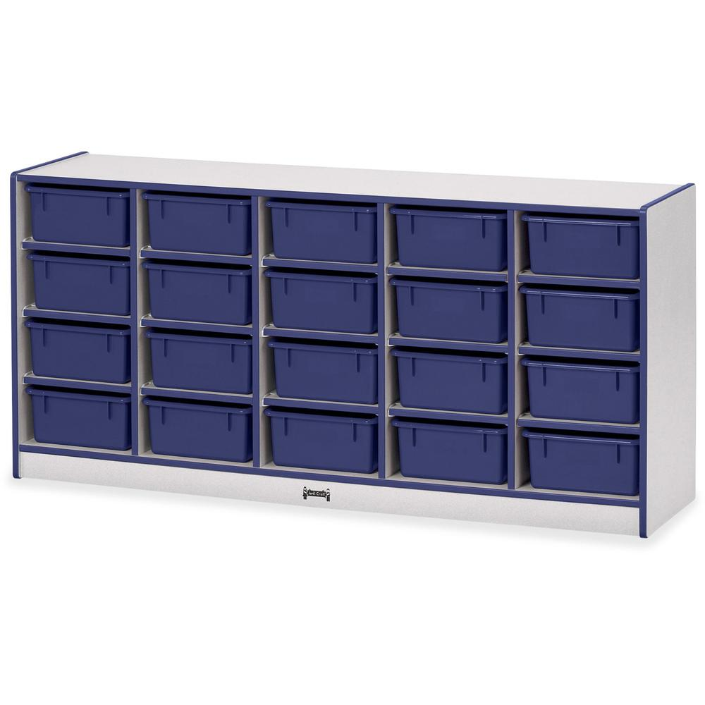 "Rainbow Accents Cubbie Mobile Storage - 20 Compartment(s) - 29.5"" Height x 24.5"" Width x 15"" Depth - Blue - Hard Rubber - 1Each. Picture 1"