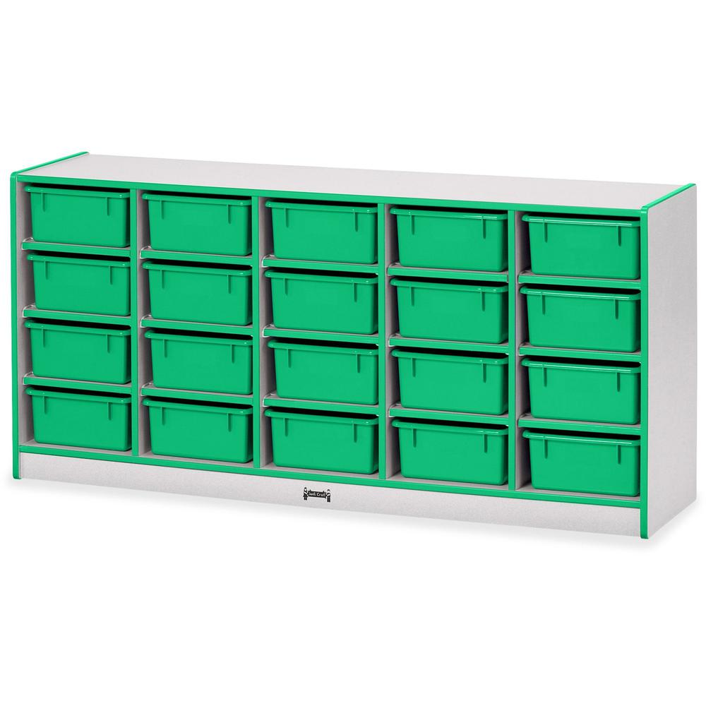 """Rainbow Accents Cubbie Mobile Storage - 20 Compartment(s) - 29.5"""" Height x 24.5"""" Width x 15"""" Depth - Green - Hard Rubber - 1Each. Picture 1"""