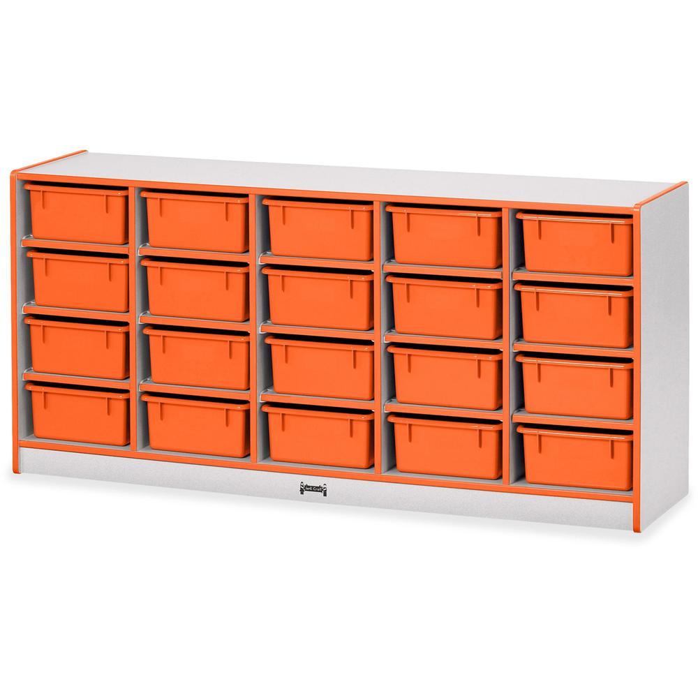 "Jonti-Craft Rainbow Accents Cubbie Mobile Storage - 20 Compartment(s) - 29.5"" Height x 24.5"" Width x 15"" Depth - Orange - Hard Rubber - 1Each. Picture 1"