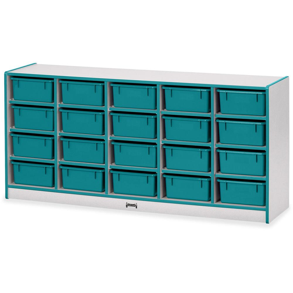 "Rainbow Accents Cubbie Mobile Storage - 20 Compartment(s) - 29.5"" Height x 24.5"" Width x 15"" Depth - Teal - Hard Rubber - 1Each. Picture 1"
